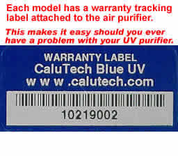 uv warranty label for uv air cleanser